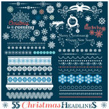 Weihnachtssatz Grenzen mit Schneeflocken Stockbild