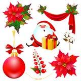 Weihnachtssatz mit der Poinsettia lokalisiert auf einem Weiß Stockbilder