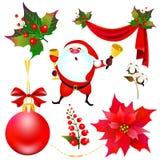 Weihnachtssatz mit der Poinsettia lokalisiert auf einem Weiß Lizenzfreie Stockfotos