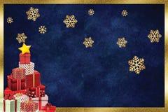 Weihnachtsschönes Grußkartengeschenk stock abbildung