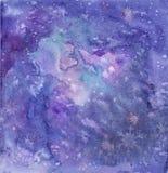 Weihnachtsschönes helles Aquarell befleckt, blaue Winterzusammenfassungs-Aquarellbeschaffenheit stockbilder