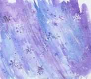 Weihnachtsschönes helles Aquarell befleckt, blaue Winterzusammenfassungs-Aquarellbeschaffenheit stockfotografie