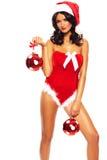 Weihnachtsschönheit auf weißem Hintergrund Lizenzfreie Stockfotografie