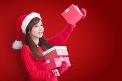 Weihnachtsschönheitsfrau Stockfotos