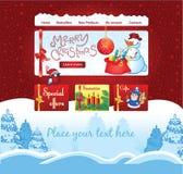 Weihnachtsschablone für Geschenk auf Linie Shop Lizenzfreie Stockbilder