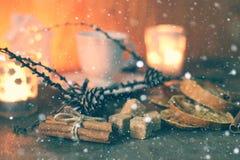 Weihnachtsschale orange Zimtzucker Stockfotos