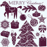 Weihnachtsschattenbilder eingestellt Stockfotos