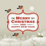 Weihnachtsschild über Winterlandschaft Stockfotos