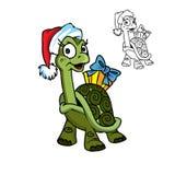 Weihnachtsschildkröte mit dem Geschenk vektor abbildung