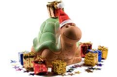 Weihnachtsschildkröte mit Sternen Stockfotos