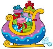 Weihnachtsschlitten voll der Geschenke lizenzfreie abbildung