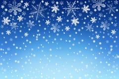 Weihnachtsschnee-Himmelhintergrund mit Weiß und Silberschneeflocken Winterurlaubhintergrund Lizenzfreies Stockbild