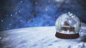 Weihnachtsschnee-Kugel mit Schneefällen Lizenzfreies Stockfoto