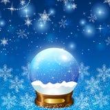 Weihnachtsschnee-Kugel-Schleife Stockfotos