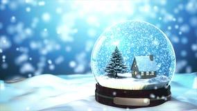 Weihnachtsschnee-Kugel Schneeflocke der Schleifen-4K fähige mit Schneefällen auf blauem Hintergrund stock footage