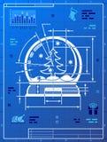 Weihnachtsschnee-Kugelsymbol als Planzeichnung Stockbild