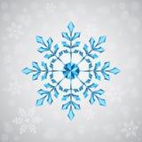 Weihnachtsschneeflocke von geometrischen Formen Zeichen der blauen Schneeflocke Stockfotografie