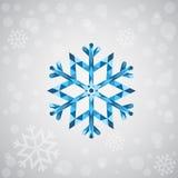 Weihnachtsschneeflocke von geometrischen Formen Zeichen der blauen Schneeflocke Stockfoto