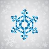Weihnachtsschneeflocke von geometrischen Formen Zeichen der blauen Schneeflocke Stockbilder