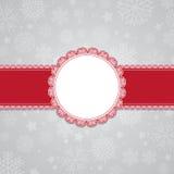 Weihnachtsschneeflockehintergrund mit unbelegtem Kennsatz vektor abbildung