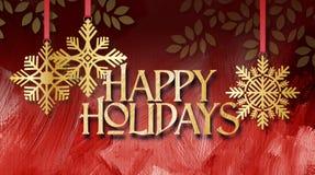 Weihnachtsschneeflocken-Goldverzierungen mit frohe Feiertage Mitteilung Lizenzfreie Stockbilder