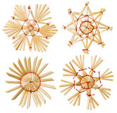 Weihnachtsschneeflocken-Stern Straw Hanging Decoration, Weiß lokalisiert Lizenzfreie Stockbilder