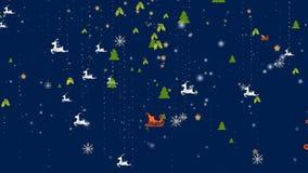 Weihnachtsschneeflocken- und -verzierungshintergrund - fallender Schnee, Stern, Rotwild und Partikel stock abbildung