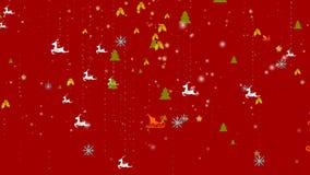 Weihnachtsschneeflocken- und -verzierungshintergrund - fallender Schnee, Stern, Rotwild und Partikel lizenzfreie abbildung
