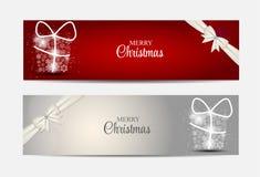 Weihnachtsschneeflocken-Website-Titel und Fahnen-Satz Stockfotografie