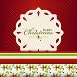 Weihnachtsschneeflockenaufkleber auf red2 Lizenzfreie Stockfotografie
