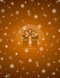 Weihnachtsschneehintergrund mit Geschenk und Weihnachten Lizenzfreies Stockbild