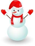 WeihnachtsSchneemann im roten Hut Lizenzfreies Stockfoto