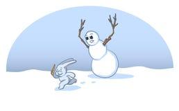 WeihnachtsSchneemann-Karikatur Stockfotos
