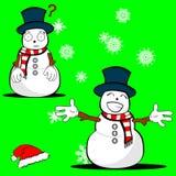 Weihnachtsschneemann-Karikaturausdruck set7 Lizenzfreies Stockbild