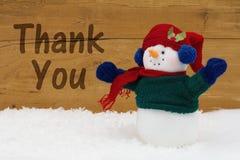 Weihnachtsschneemann mit Text danken Ihnen Stockfoto