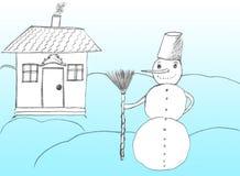 WeihnachtsSchneemann nahe dem Haus, zeichnend stock abbildung