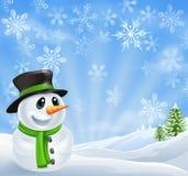 WeihnachtsSchneemann-Szene lizenzfreie abbildung