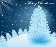 Weihnachtsschneeszene mit Weihnachtsbäumen Stockfotos