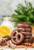 Weihnachtsschokoladenlebkuchen Lizenzfreies Stockfoto