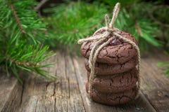 Weihnachtsschokoladenplätzchen mit der Moosbeere gebunden mit Schnur lizenzfreie stockfotografie