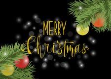 Weihnachtsschwarzes Plakat oder -karte mit Kalligraphie Lizenzfreies Stockfoto