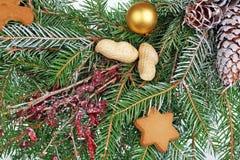 Weihnachtsselbst gemachte neue Jahre winden ââ-'¬â€ ¹ ââ-'¬â€ ¹ von der Kiefer und Tannenzapfennüsse und -plätzchen stockfotos
