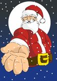 Weihnachtsserie: Glückliche Sankt, die Hand gibt Lizenzfreie Stockfotos