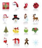 Weihnachtsset Ikonen auf weißem Hintergrund Stockbilder