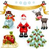 Weihnachtsset. Weihnachtsmann mit Geschenken und Baum Stockbilder