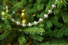 Weihnachtssilberne Perlen, die in einem Weihnachtsbaum hängen Lizenzfreie Stockfotografie