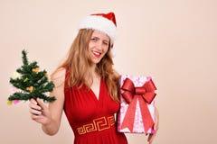 Weihnachtssinnliches Mädchen mit einem Präsentkarton und einem Baum, in Sankt-Kostüm Stockbilder