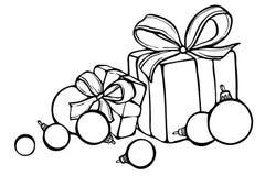 Weihnachtsskizze mit Geschenken und Weihnachtsbällen Stockbilder