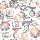 Weihnachtsskizzen-nahtloses Muster Stockfotografie
