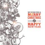 Weihnachtsskizzenkarte Lizenzfreies Stockfoto